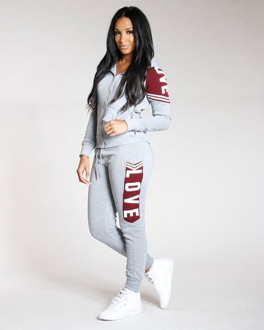 Grey Love Fleece Jogger