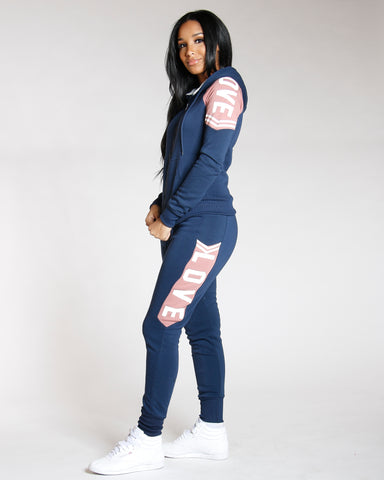 Navy Love Fleece Jogger