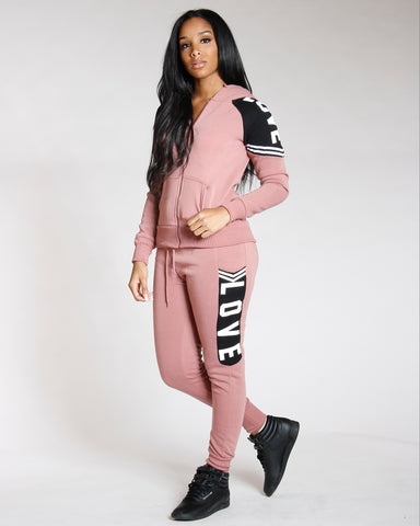 Mauve Love Fleece Jogger