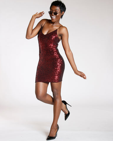 Red Heart Break Sequin Dress