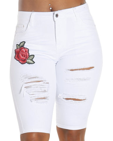 Jade Rose Patch Bermuda Shorts
