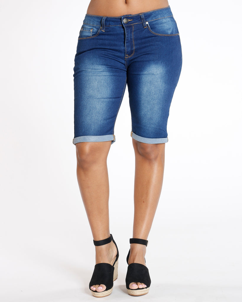 VIM VIXEN Cuffed Denim Bermuda Short - Dark Blue - ShopVimVixen.com