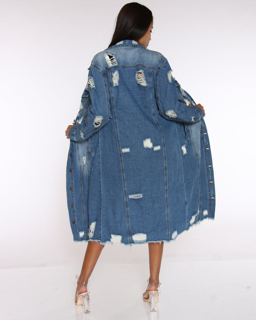 VIM VIXEN Elva Long Ripped Denim Jacket - Medium Blue - ShopVimVixen.com