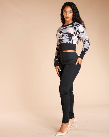Camo Crop Sweater - Grey