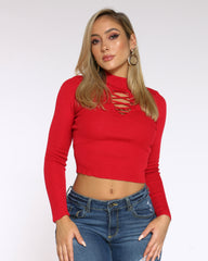 KNITTED LACE UP LONG SLEEVE SWEATER (AVAILABLE IN 6 COLORS)