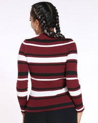 Striped Choker Neck Sweater (Available In 6 Colors)