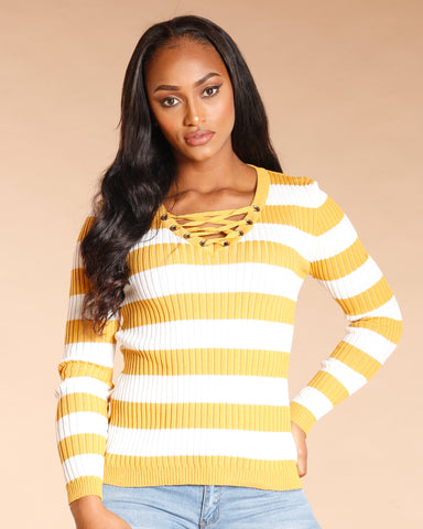 Lace Up Stripe Long Sleeve Sweater