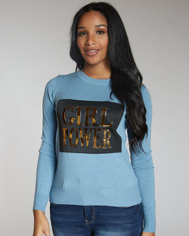 Vanesa Blue Girl Power Sweater