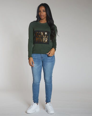 Vanesa Olive Girl Power Sweater
