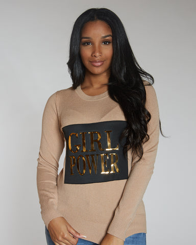 Vanesa Khaki Girl Power Sweater