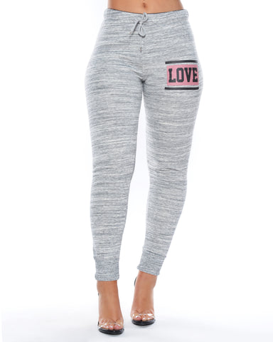 Melange Love Fleece Joggers (Available in 2 colors)