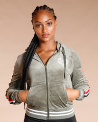 Velour Side Stripe Jacket (Available In 6 Colors)