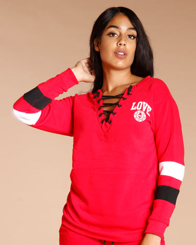 Front Lace Up Pullover Sweater (Available In 5 Colors)