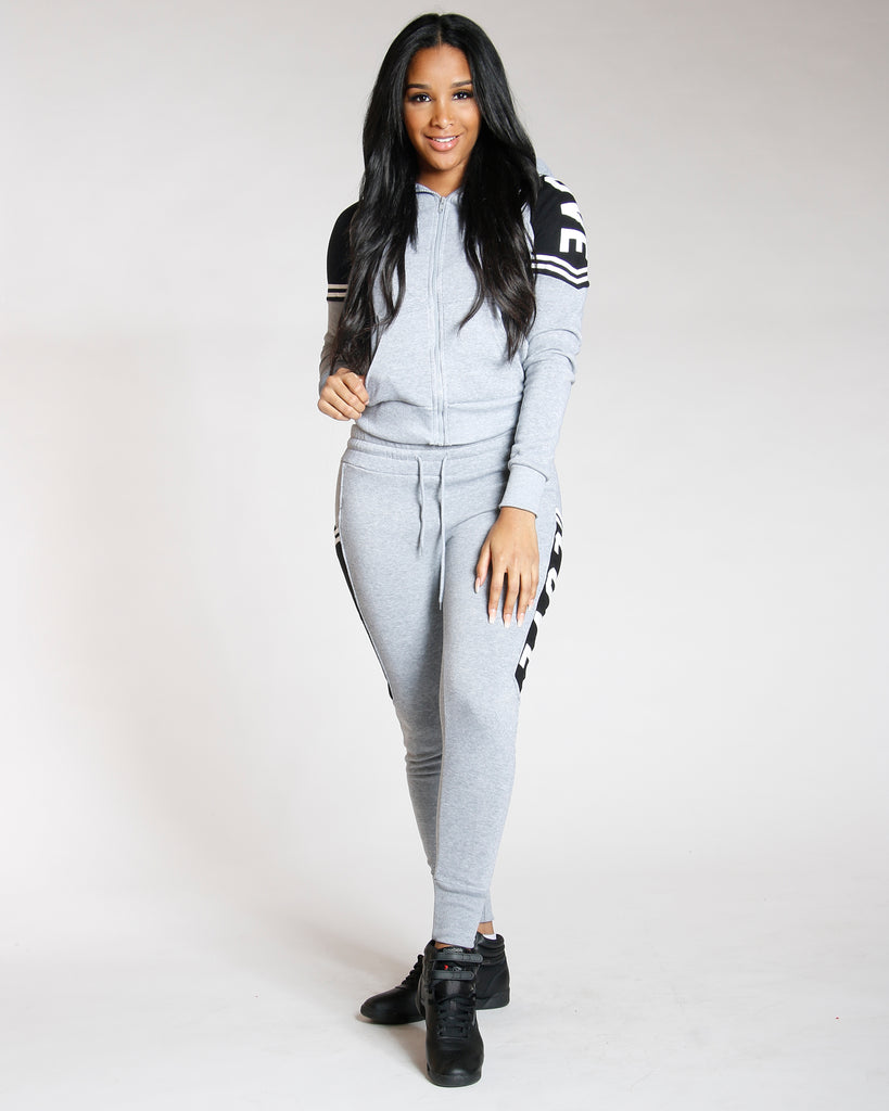 VIM VIXEN Grey Love Fleece Full Zip Hoodie - ShopVimVixen.com