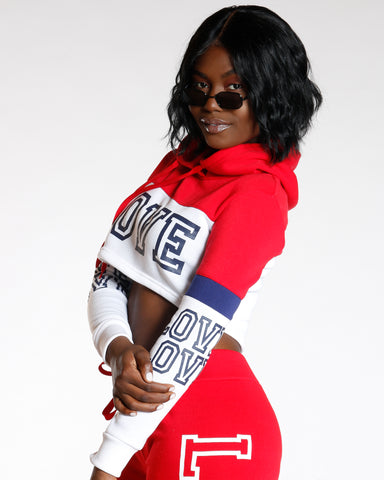 Red Color Block Love Hoodie