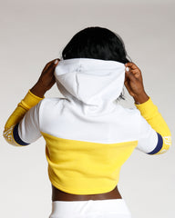 White Color Block Love Hoodie