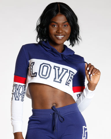 Navy Color Block Love Hoodie