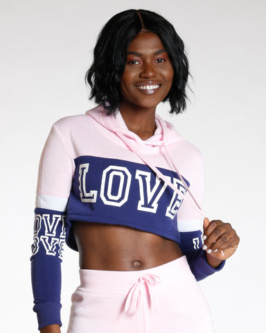 Pink Color Block Love Hoodie