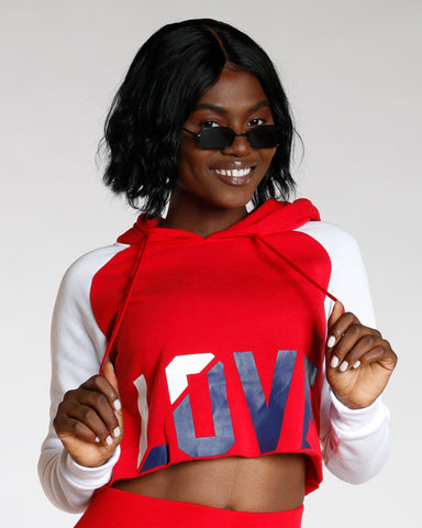 Red Love Color Block Hoodie