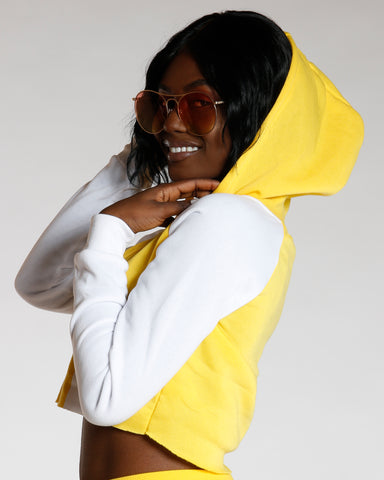 Yellow Love Color Block Hoodie