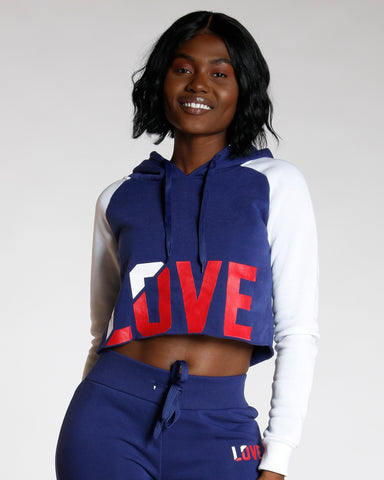 Navy Love Color Block Hoodie