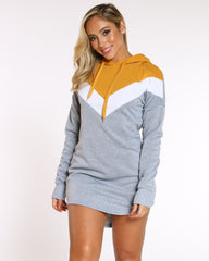 VIM VIXEN Ariann Color Block Fleece Tunic - Heather Grey - ShopVimVixen.com