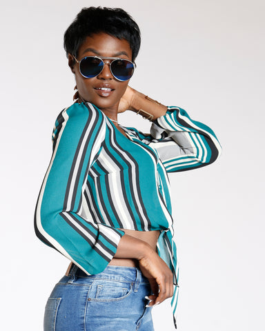 Green Multi Stripe Cropped Button Down Top