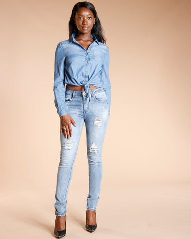 BUTTON DOWN DENIM SHIRT - BLUE