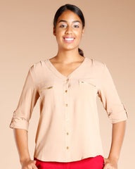 Button Down 3/4 Sleeve Top (Available In 4 Colors)