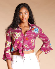 Floral Stripe Print Button Down Top (Available In 2 Colors)