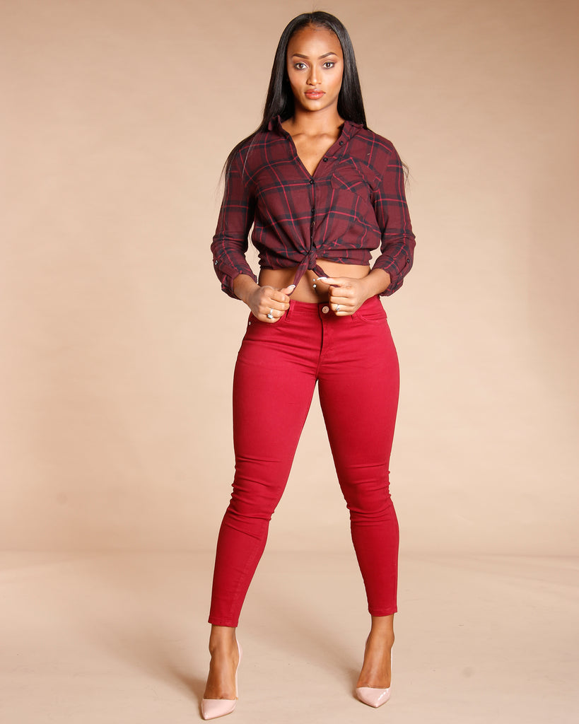 VIM VIXEN Button Down Plaid Shirt - ShopVimVixen.com