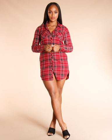 Plaid Roll Up Tunic