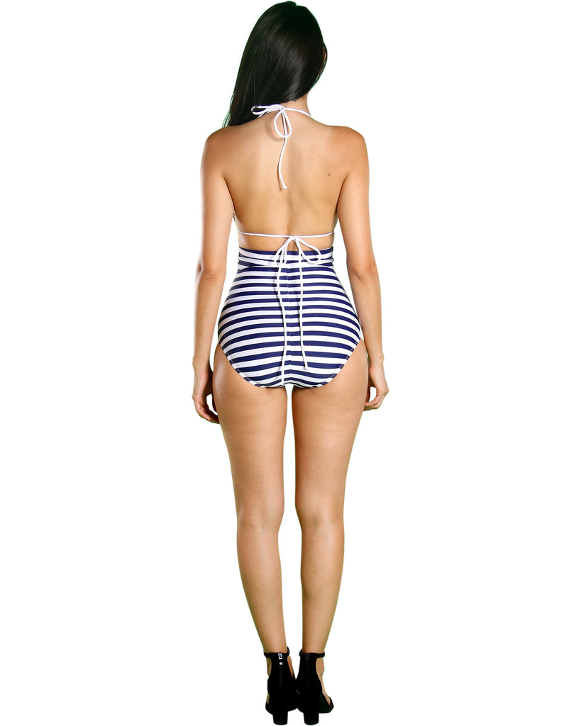 VIM VIXEN Navy Pin Up High Waist Bikini - ShopVimVixen.com