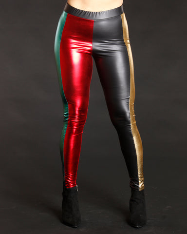 Women's New Thang Color Block Fashion Pants - Vim Vixen - Remy Ma - Black Red Gold Green