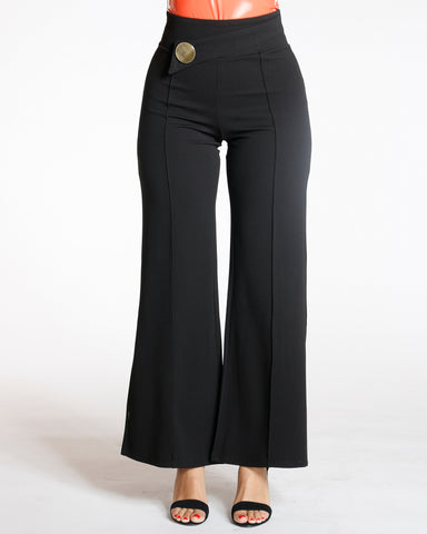 Big Button Flare Leg Crepe Pant - Black