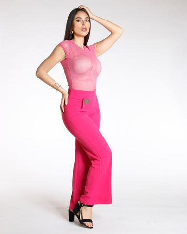 Big Button Flare Leg Crepe Pant - Fuchsia