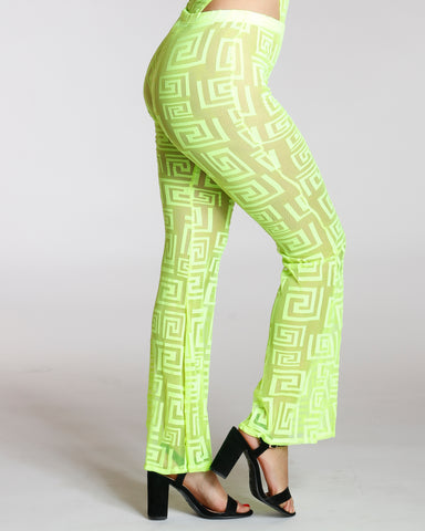 Zig Zag Mesh Flare Bottom Pant - Neon Green