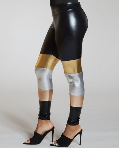 Leather Trim Color Block Legging