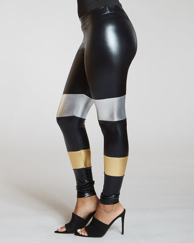 Color Block Leather Trim Legging