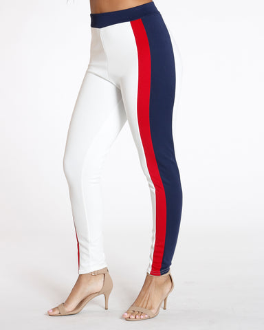 White Color Block Scuba Legging