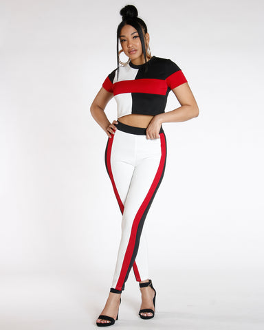 Black Color Block Scuba Legging