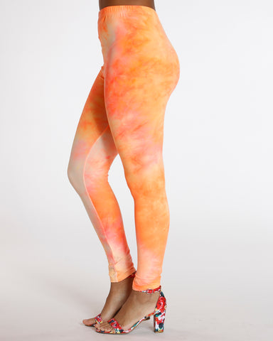 Dalary Orange Neon Tye Dye Legging