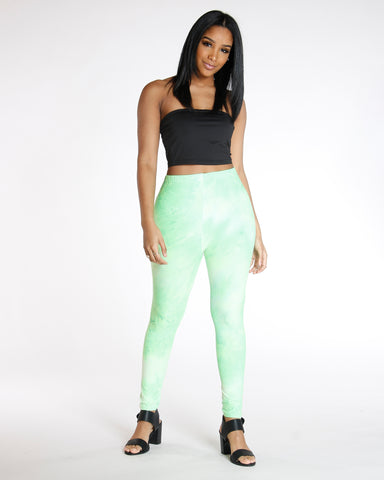Dalary Green Neon Tye Dye Legging