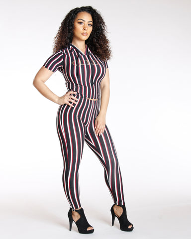 Black Vertical Stripe Legging
