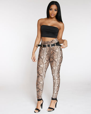 Brown Snake Skin Print Legging