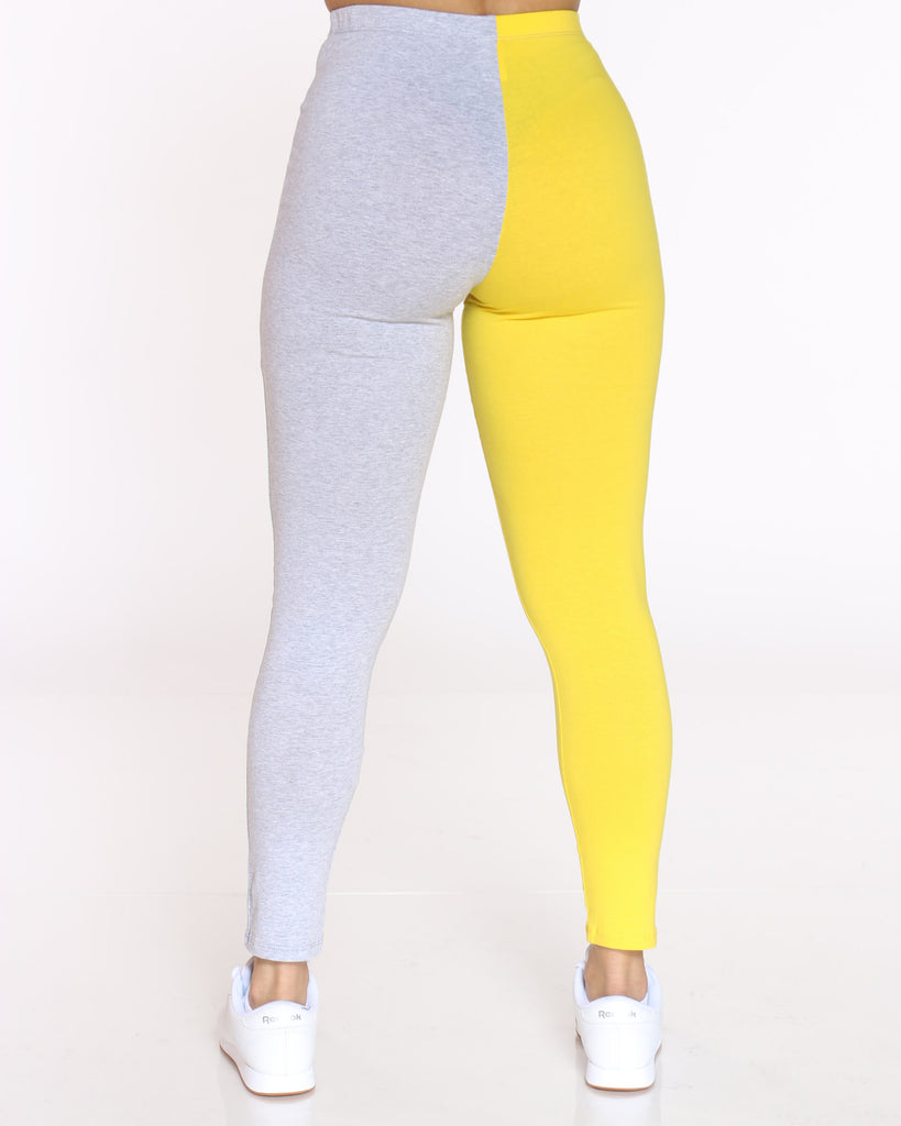 Teanna Split Color Block Legging - Yellow Grey