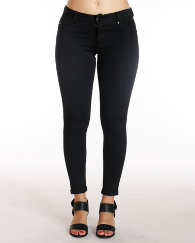 Ponte Five Pocket Cuff Bottom Pant - Black