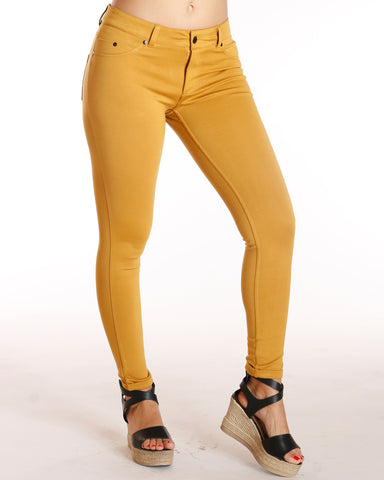 Ponte Five Pocket Cuff Bottom Pant - Mustard