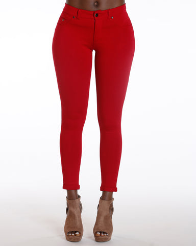 Ponte Five Pocket Cuff Bottom Pant - Red