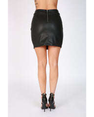 VIM VIXEN Faux Leather Lace Up Skirt - Black - ShopVimVixen.com